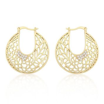 Tsula Matte Gold Floral Filigree Hoop Earrings