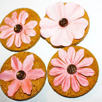 Decorative Pink Flower Cork Magnets - 4 Pack!