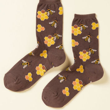 What's the Buzz? Socks in Brown | Mod Retro Vintage Socks | ModCloth.com