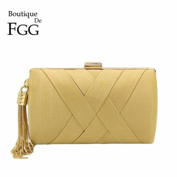 Boutique De FGG Women Gold Satin Woven Evening Bags Tassel Metal Minaudiere Day Clutches Purse Party Prom Chain Shoulder Handbag