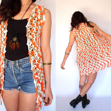 Long Crochet Vest 60's Hippie Sweater Sleeveless Jacket