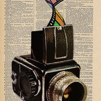 A Colorful Ode to Vintage Film-making Original Collage Print on an Antique Upcycled Bookpage