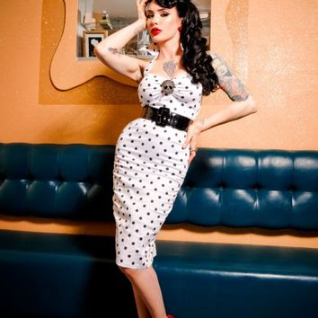 Deadly Dames Wiggle Dress in White with Black Polka Dots