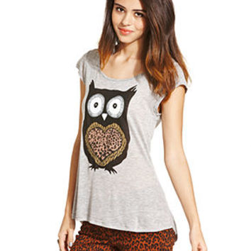 Fresh Brewed Juniors Top, Short Sleeve Owl Tee - Juniors Back to School - Macy's