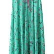 Green Bird Print Pleated Drawstring Maxi Skirt