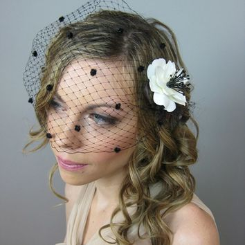 Wedding Accessories Bridal Birdcage Veil with Chenille Dots (Free U.S. Shipping) - french veil, russian veil, white, black, red