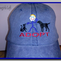 Embroidered ADOPT Dog Cat Cap Blue Denim Cotton Hat Baseball Low Fitting Soft Crown Velcro Closure