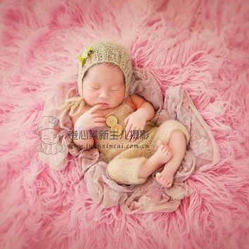 Baby Crochet Mohair Pants and Hat Hand Knitted Romper Crochet Mohair Baby Clothes Newborn Handmade Bonnet