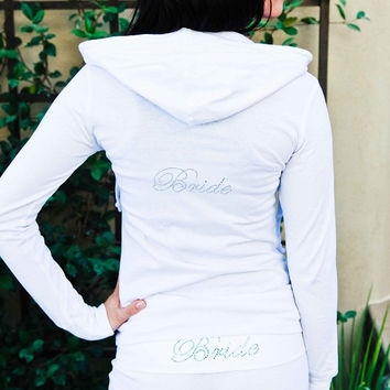 Bride Hoodie. Bride Jacket. Zip Up Hoodie. Bridesmaid, Maid of Honor, Brides Entourage. Bridal Party Hoodie.