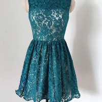 Homecomiong Dress,Green Lace V-back Bowknot Sweet Short Prom Dress