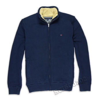 Tommy Hilfiger Sweater Navy Blue Full Zip Sherpa Lined Solid
