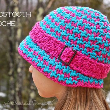 Crochet Pattern: Houndstooth Cloche, Hat Permission to Sell Finished Items