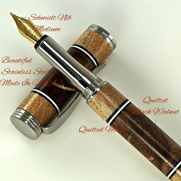 Custom Wooden Pen Fountain Beautiful Quilted Back Walnut Burl with Maple Black and White Segments Made in USA Stainless Steel 711FPJ