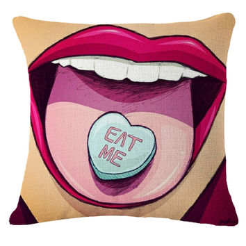"The ""Eat Me"" Pillow Cover"
