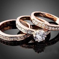 3-in-1 Crystal Rose Gold GP Ring Set Jewelry