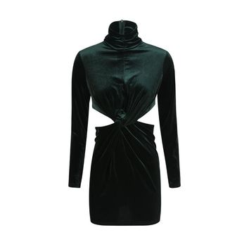 Fashion slim sexy hollow out long sleeve turtleneck  woman's Casual sheath dress