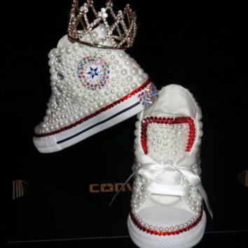 Pearl Toddler Converse with Ruby Red Swarovski Crystals - Free US SHIPPING