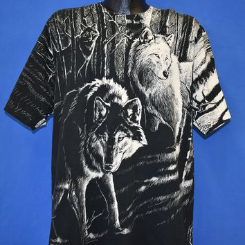 90s Wolves In The Forest All Over Print t-shirt Extra Large