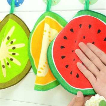 2pcs Lovely Cartoon Fruit Pattern Towel Absorbent Kitchen Towel Hanging Hand Towel  For Kitchen Bathroom Use 8D