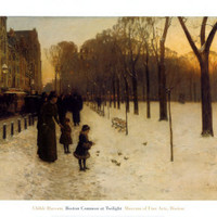 Boston Common at Twilight, 1885-86 Print by Childe Hassam at Art.com