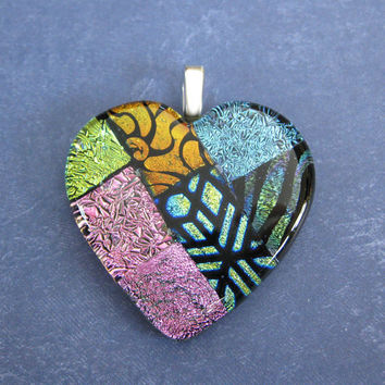 Large Dichroic Heart, Colorful Heart, Valentines Jewelry, Gift for Girlfriend - Mi Amor - 4617 -4
