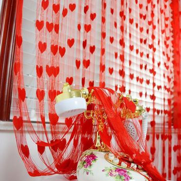 1*2meter heart String Tassel room door window curtain Divider for Birthday Wedding Party Decoration gift DIY background favor
