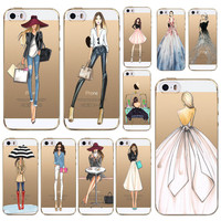 Modern Fashion Shopping Girls Patterns Soft TPU Back Cases Cover For Apple iphone 4 4s 5 5s SE 5C 6 6s 6 plus Phone Cases fundas