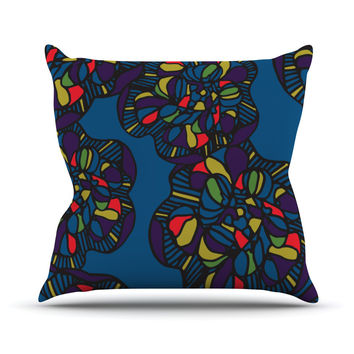 "Sonal Nathwani ""Mushroom Flower"" Navy Pattern Outdoor Throw Pillow"