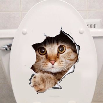Vinyl Waterproof Cat Dog 3D Wall Sticker Hole View Vivid Bathroom Toilet Living Room Home Decor Decal Poster Background Wall Sti