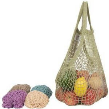 Eco-Bags String Tote Bag Long Handle Cotton Assorted Pastels - 10 Bags