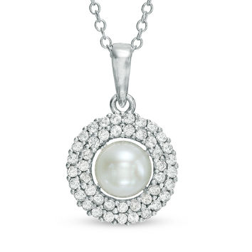 6.0 - 6.5mm Cultured Freshwater Pearl and Lab-Created White Sapphire Frame Pendant in Sterling Silver