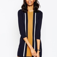 ASOS | ASOS A Line Dress In Knit With Vertical Stripe Detail at ASOS
