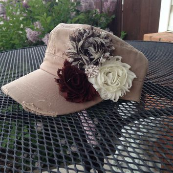 Women's Hat, Khaki hat, brown flower hat, cadet cap, military hat, womens cap, womens baseball hat, baseball cap, womens accessories, mom