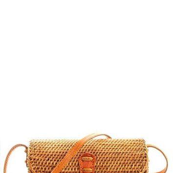 Smooth Natural Woven Bag with Detachable and Adjustable Long Strap