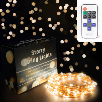 Fairy Lights by CraftDelite, Dimmable Soft White Starry LED String Lights on Copper Wire 10m 33' with Remote Control - Free Shipping!