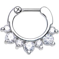 "16 Gauge 1/4"" Seven Clear Cubic Zirconia Septum Clicker 