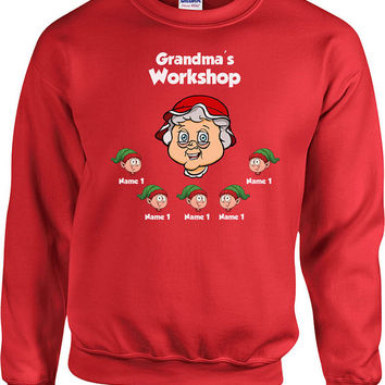 Holiday Sweater Grandma's Workshop Customize Elves Names Christmas Hoodie Xmas Sweater Presents For Christmas Holiday Gifts Xmas - SA497