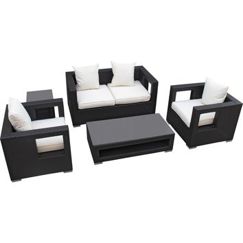 Modern Patio Furniture Lunar 5 Piece Sofa Set Espresso White Cushions