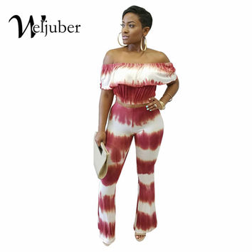 New Style Two Piece Elegant Jumpsuit Women Print Flare Pants Off Shoulder Casual Sexy Jumpsuit Romper Plus Size