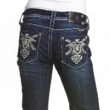 Miss Me Girls Abstract Royal Emblem Boot Cut Denim Jeans sz. 8-12