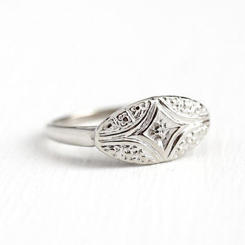 Vintage Diamond Ring - 10k White Gold Flower Single Cut Genuine Diamond Statement - Size 6 3/4 Mid Century Engagement Promise Floral Jewelry
