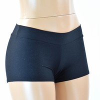 Black Soft Knit Snuggly Cozy Mid Rise Booty Shorts