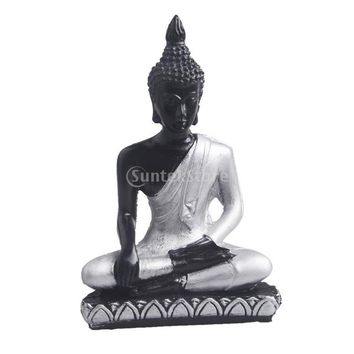 Asian Style Resin Budha Miniature Meditation Statue Sakyamuni Religious Figurines  Ornament Tabletop