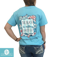 SALE Southern Couture Preppy The Beach Is Calling Starfish Shells T-Shirt