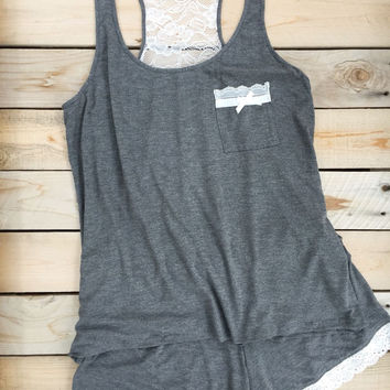 Gray & Lace Pajama Romper Set