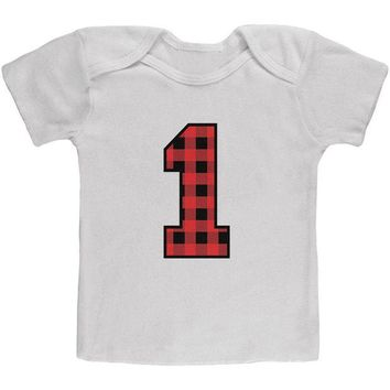 Chenier Birthday Kid Lumberjack Plaid 1 1st First Baby T Shirt