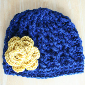 Crochet Cable Knit hat for women, navy blue and mustard yellow, soft cabled hat, Notre Dame colors, Adult sizes