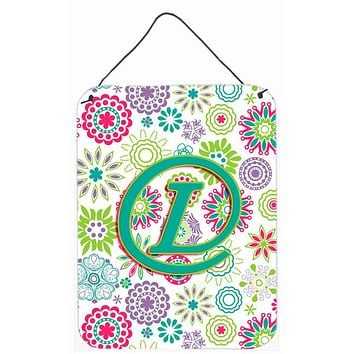 Letter L Flowers Pink Teal Green Initial Wall or Door Hanging Prints CJ2011-LDS1216
