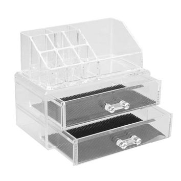 Celestine Acrylic Crystal Clear 2 Drawer Makeup Cosmetics Organizer