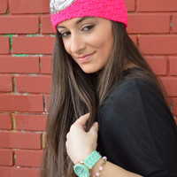 Neon Pink HandKnitted Headband With Sequins Flower Embellishment Headwarmer Wide Headband Ear Warmer - Handmade